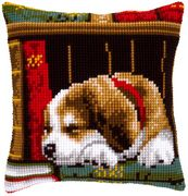 Sleeping Dog Cushion - Vervaco Cross Stitch Kit