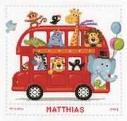 Vervaco Safari Bus Birth Record Birth Sampler Cross Stitch Kit