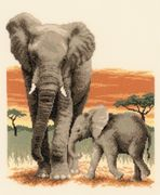 Vervaco Elephant's Journey - Aida Cross Stitch Kit