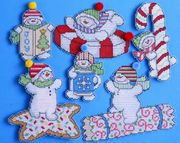 Sweetie Snowmen Ornaments - Design Works Crafts Cross Stitch Kit