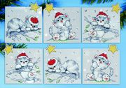 Christmas Cats Ornaments - Design Works Crafts Cross Stitch Kit