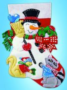 Design Works Crafts Snowman and Animals Felt Stocking Christmas Craft Kit