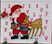 Santa and Deer Advent - Permin Cross Stitch Kit