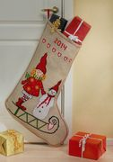 Girl and Snowman Stocking - Permin Cross Stitch Kit