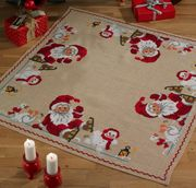 Permin Santa and Snowman Tree Skirt Cross Stitch Kit