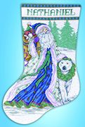Santa and Polar Bear Stocking - Design Works Crafts Cross Stitch Kit