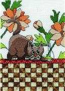 Brown Checkered Cat - Design Works Crafts Cross Stitch Kit