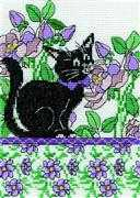 Lilac Floral Cat - Design Works Crafts Cross Stitch Kit