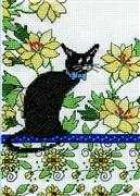 Yellow Floral Cat - Design Works Crafts Cross Stitch Kit