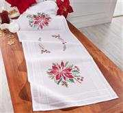 Deco-Line Poinsettia Table Runner Christmas Cross Stitch Kit