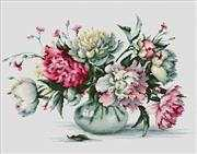 Luca-S Peonies Cross Stitch Kit