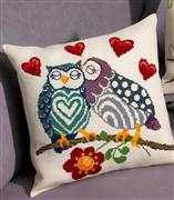 Permin Love Owls Cushion Cross Stitch Kit