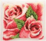 Pink Roses Cushion - Vervaco Latch Hook Kit