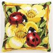 Vervaco Ladybird and Primrose Cushion Cross Stitch Kit