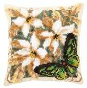 Butterfly and Flowers Cushion 2 - Vervaco Cross Stitch Kit