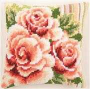 Roses on Stripes Cushion - Vervaco Cross Stitch Kit