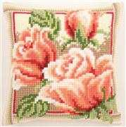 Pink Roses Cushion - Vervaco Cross Stitch Kit