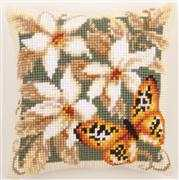 Butterfly and Flowers Cushion 3 - Vervaco Cross Stitch Kit