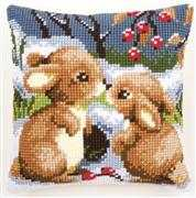 Winter Rabbits Cushion - Vervaco Cross Stitch Kit