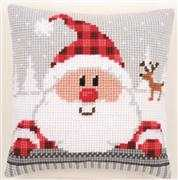 Vervaco Plaid Santa Cushion Christmas Cross Stitch Kit