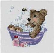 Permin Bathtime Bear Cross Stitch Kit