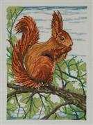 Red Squirrel - Aida - Permin Cross Stitch Kit