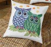 Owl Pair Cushion - Blue - Permin Cross Stitch Kit