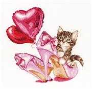 Valentine's Kitten - Thea Gouverneur Cross Stitch Kit