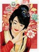Lanarte Asian Flower Girl - Evenweave Cross Stitch Kit