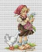 Luca-S Girl with Goose Cross Stitch Kit