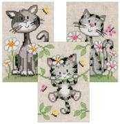 Vervaco Cats and Flowers - Set 3 Cross Stitch Kit