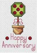 Anniversary Topiary Card - Fat Cat Cross Stitch Kit