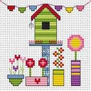 Funky Birdhouse Card - Fat Cat Cross Stitch Kit