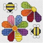 Flowers and Bees Card - Fat Cat Cross Stitch Kit