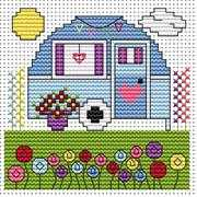 Vintage Caravan Card - Fat Cat Cross Stitch Kit