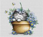 Luca-S Kitten with Flowers Cross Stitch