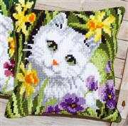 Vervaco White Cat Cushion Cross Stitch Kit
