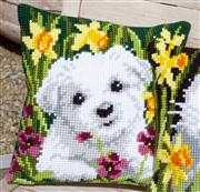 Westie in Daffodils Cushion - Vervaco Cross Stitch Kit