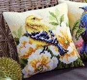 Vervaco Chaffinch and Peony Cushion Cross Stitch Kit
