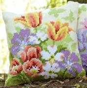 Spring Flower Cushion - Vervaco Cross Stitch Kit