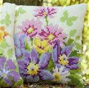 Pastel Flowers Cushion - Vervaco Cross Stitch Kit