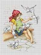 Girl with Doves - Luca-S Cross Stitch Kit