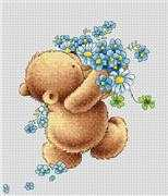 Luca-S Bear with Forget-Me-Nots Cross Stitch Kit