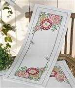 Hollyhock Runner - Permin Cross Stitch Kit