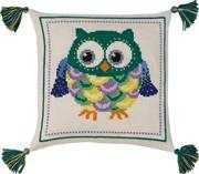 Green Owl Cushion - Permin Cross Stitch Kit