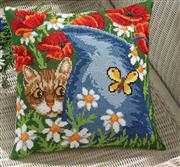 Cat and Blue Jug Cushion - Permin Cross Stitch Kit