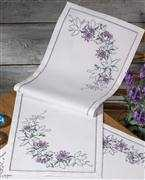 Lilac Floral Runner - Permin Cross Stitch Kit