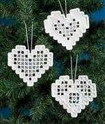 Permin White Hardanger Hearts Embroidery Kit