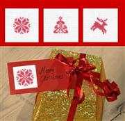 Christmas Motif Gift Tags - Set 6 - Permin Cross Stitch Kit