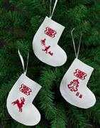 Permin Reindeer Tree Stockings - White Cross Stitch Kit